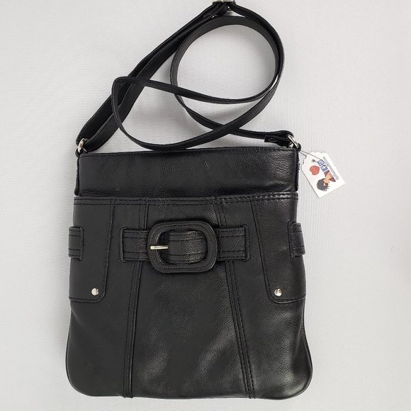 Tuscan's Collection Black Leather Crossbody Purse